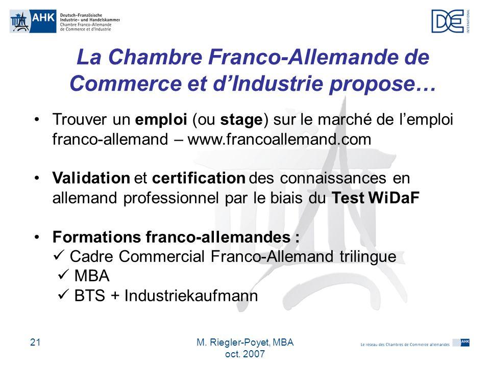 La Chambre Franco-Allemande de Commerce et d'Industrie propose…