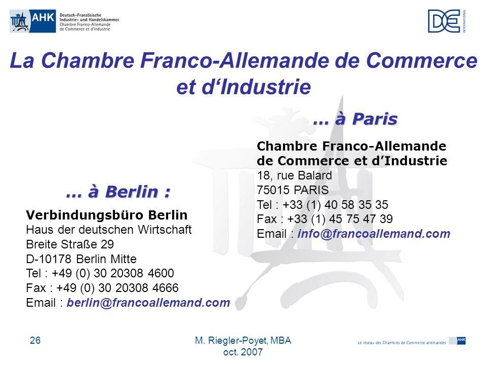 La Chambre Franco-Allemande de Commerce et d'Industrie