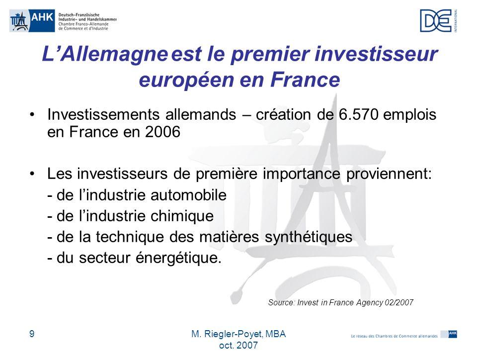 L'Allemagne est le premier investisseur européen en France