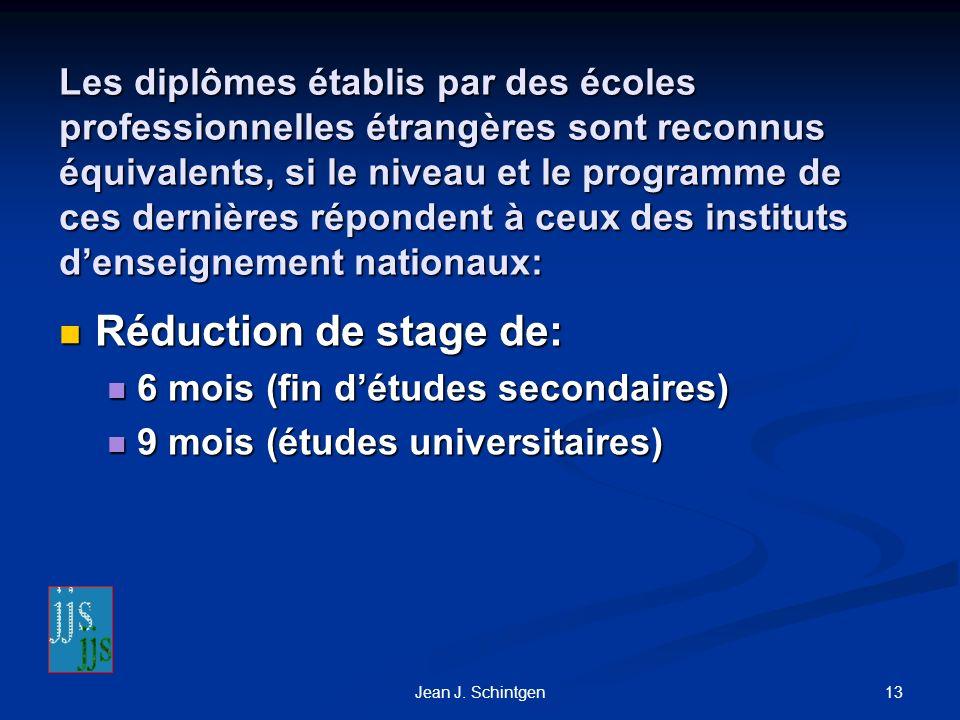Les diplômes établis par des écoles professionnelles étrangères sont reconnus équivalents, si le niveau et le programme de ces dernières répondent à ceux des instituts d'enseignement nationaux: