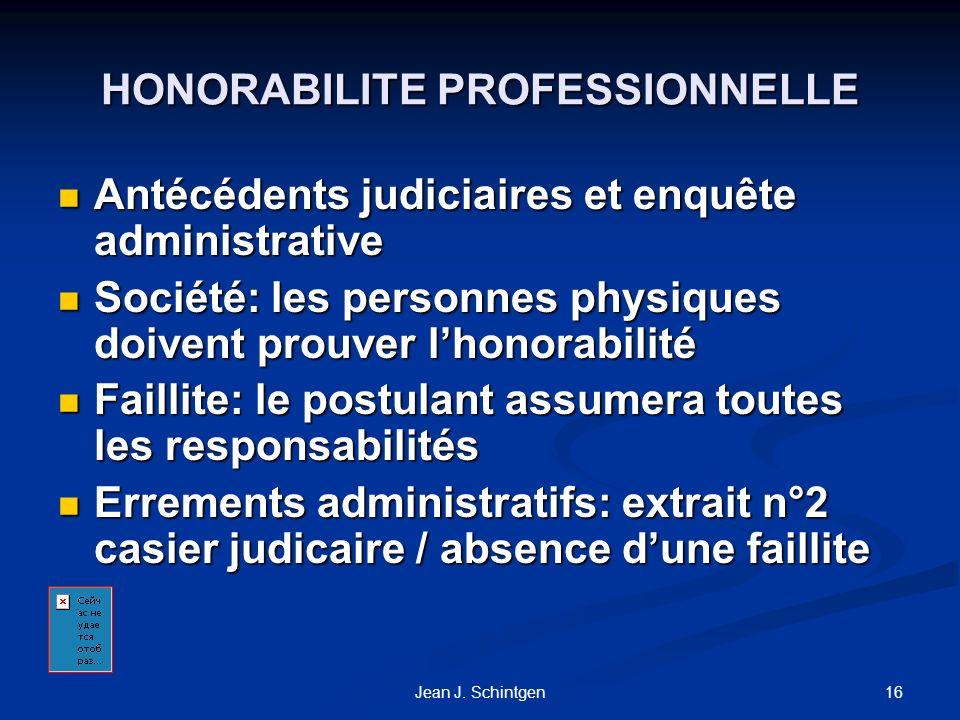 HONORABILITE PROFESSIONNELLE