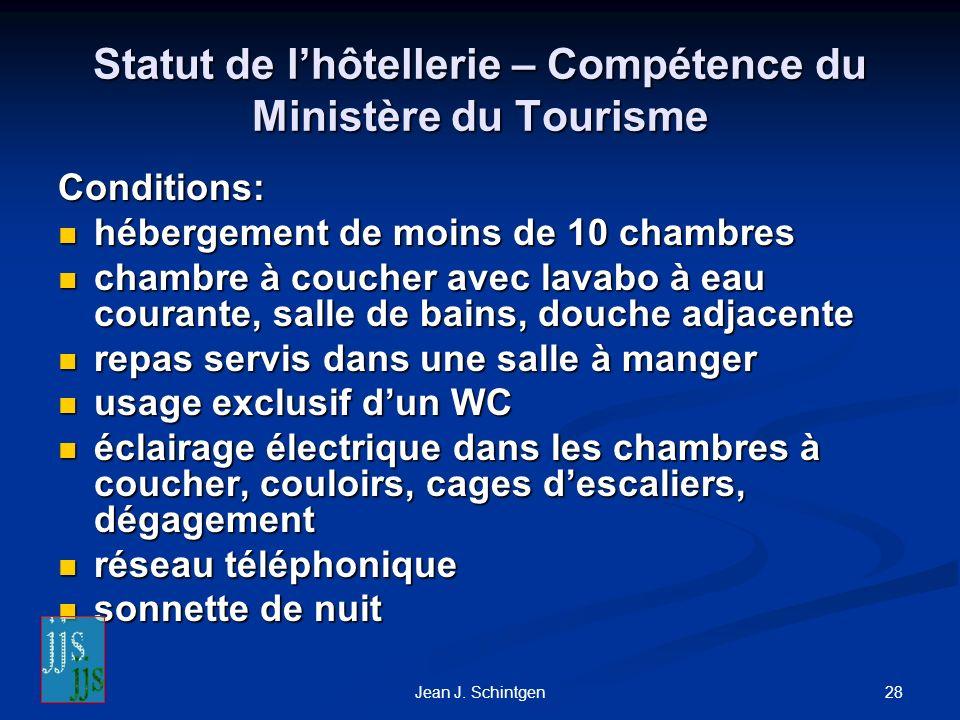 Statut de l'hôtellerie – Compétence du Ministère du Tourisme