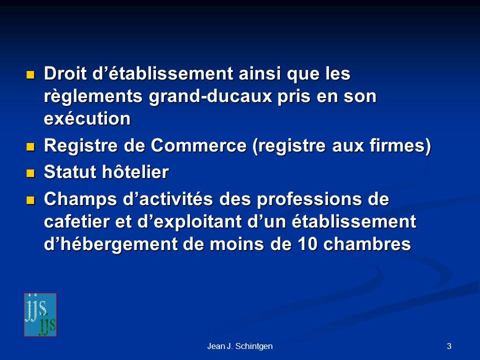 Registre de Commerce (registre aux firmes) Statut hôtelier
