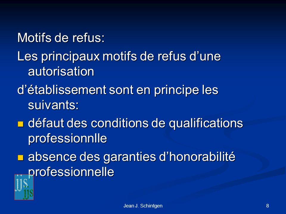 Les principaux motifs de refus d'une autorisation