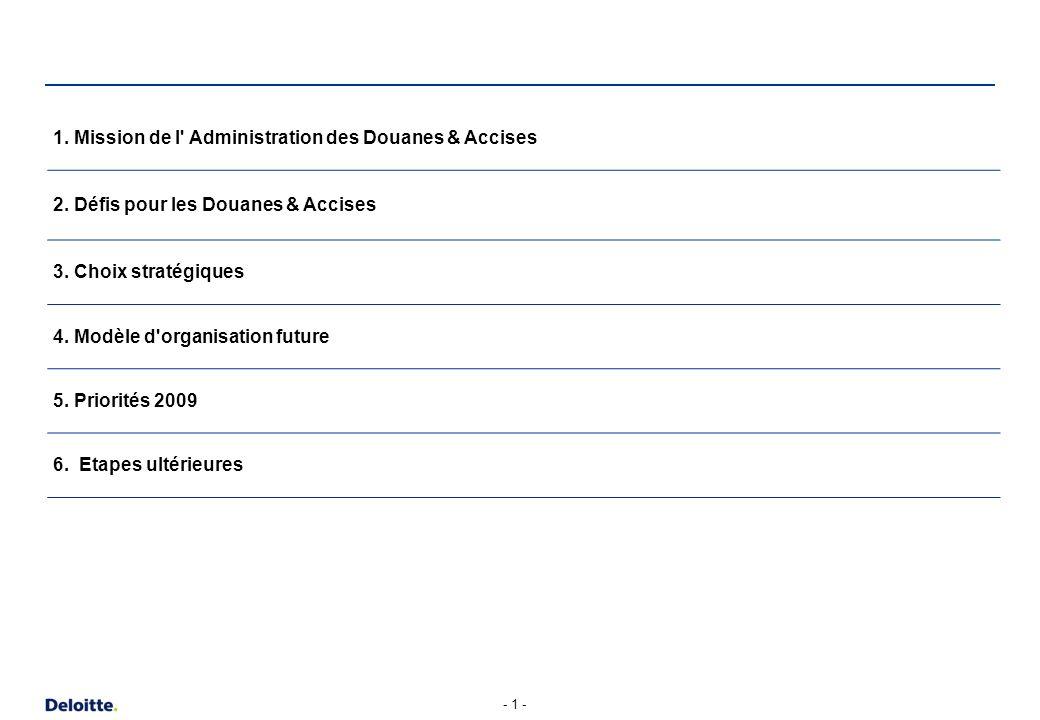 1. Mission de l Administration des Douanes & Accises