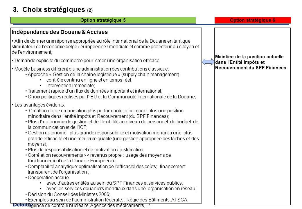 3. Choix stratégiques (3) Possibilité d'indépendance des Douane & Accises. Les conditions pour évoluer vers cette indépendance sont remplies: