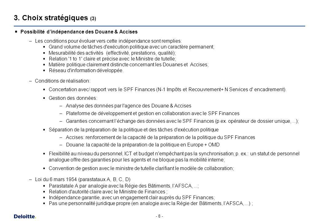 3. Choix stratégiques (4) UK. Irlande. Canada. USA. Espagne. Suède. Finlande. Pays-Bas. 1. Séparation des activités fiscales et non-fiscales