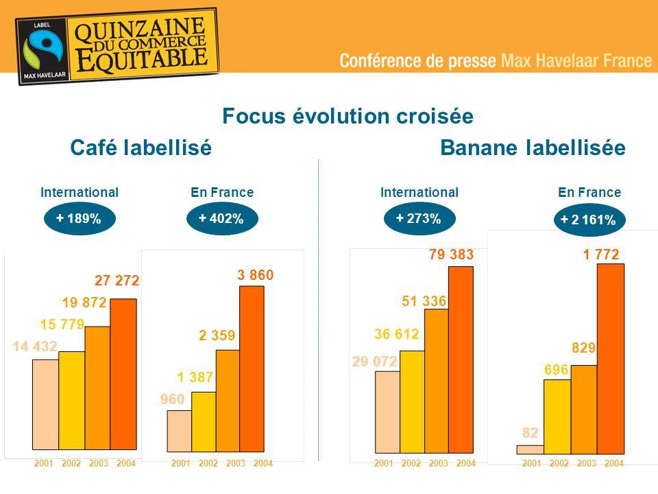 Focus évolution croisée Café labellisé Banane labellisée