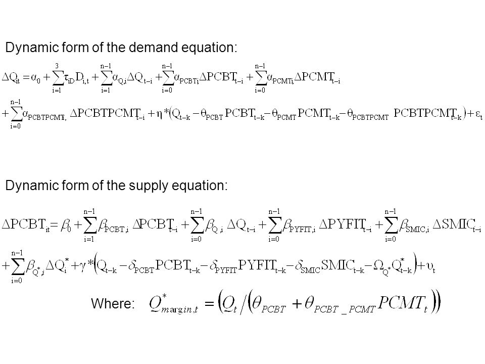Dynamic form of the demand equation: