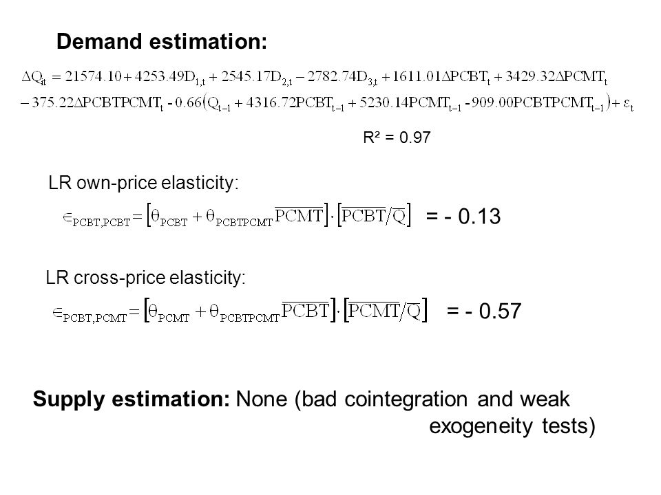 Supply estimation: None (bad cointegration and weak exogeneity tests)