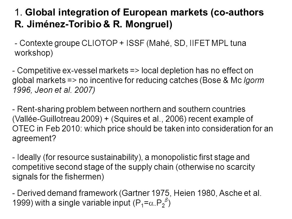 1. Global integration of European markets (co-authors R
