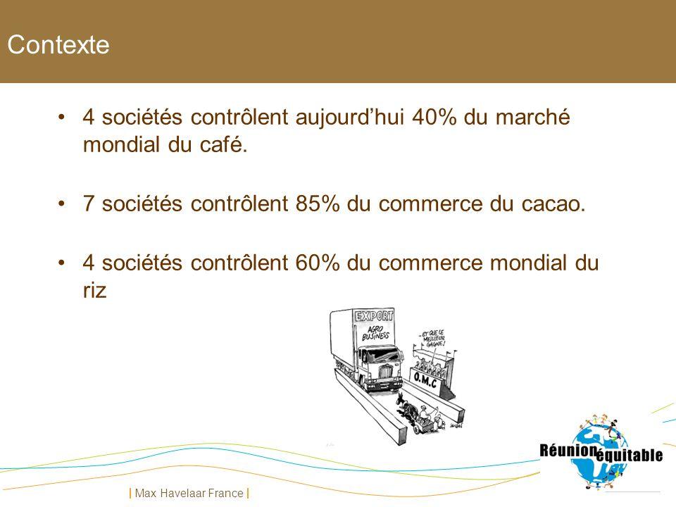 Contexte 4 sociétés contrôlent aujourd'hui 40% du marché mondial du café. 7 sociétés contrôlent 85% du commerce du cacao.