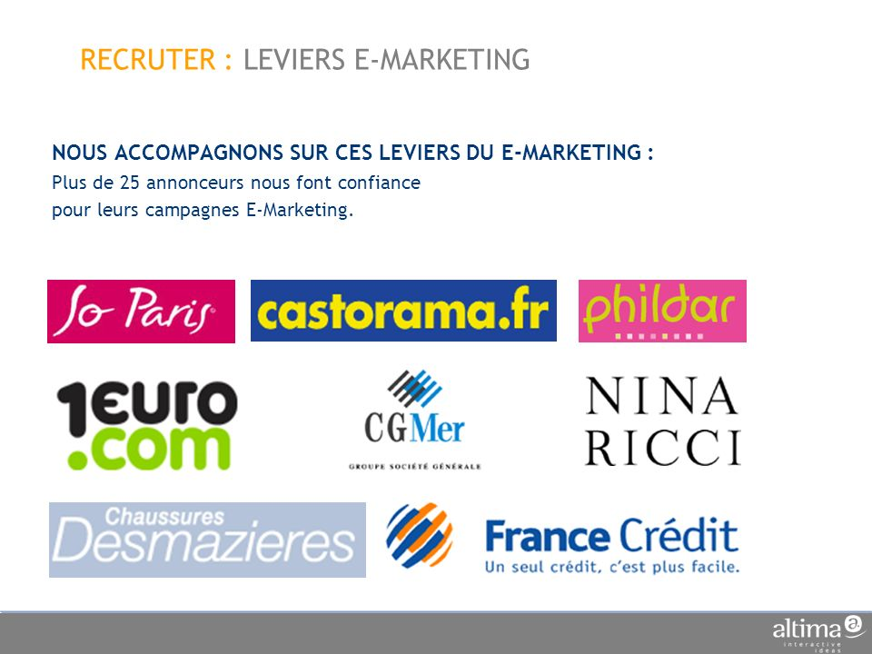 RECRUTER : LEVIERS E-MARKETING