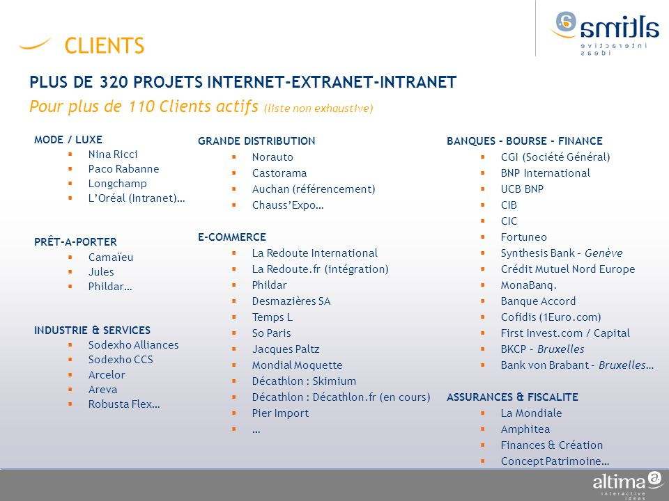 CLIENTS PLUS DE 320 PROJETS INTERNET-EXTRANET-INTRANET