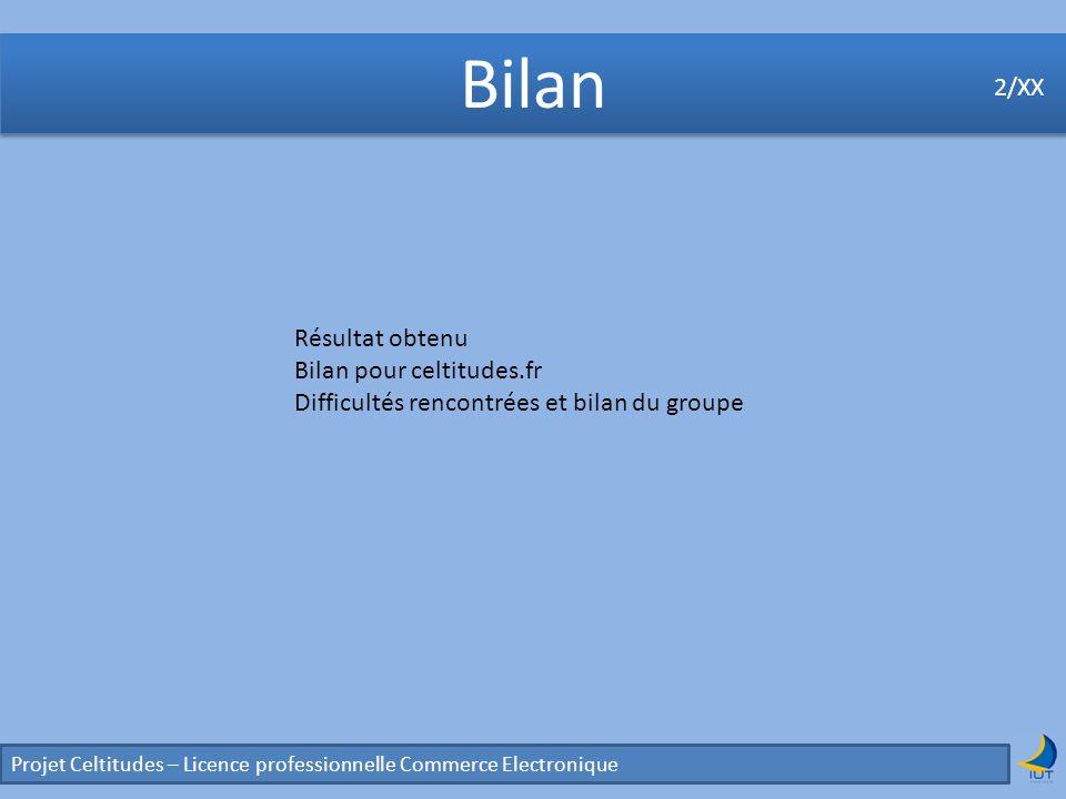 Bilan 2/XX Résultat obtenu Bilan pour celtitudes.fr