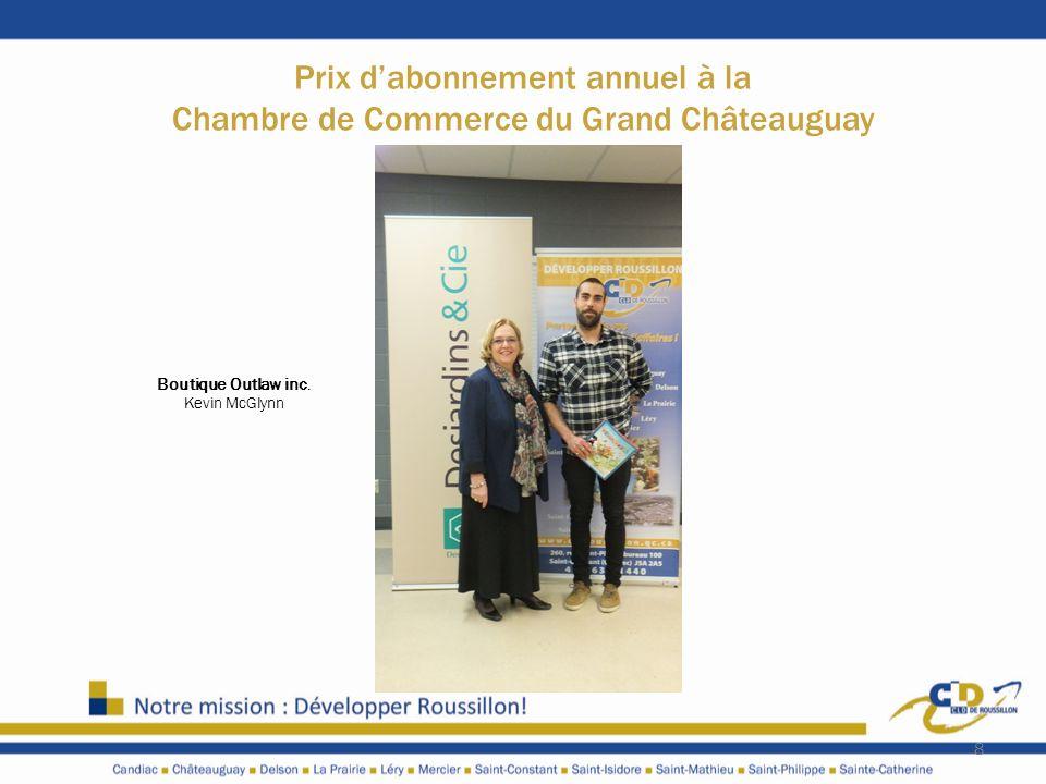 Prix d'abonnement annuel à la Chambre de Commerce du Grand Châteauguay