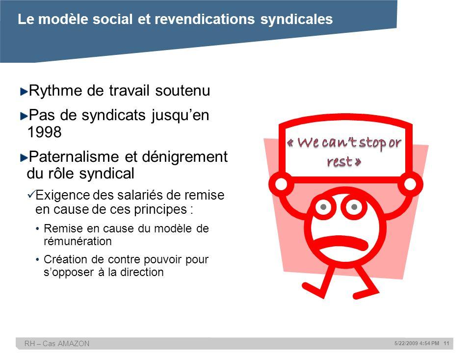 Le modèle social et revendications syndicales