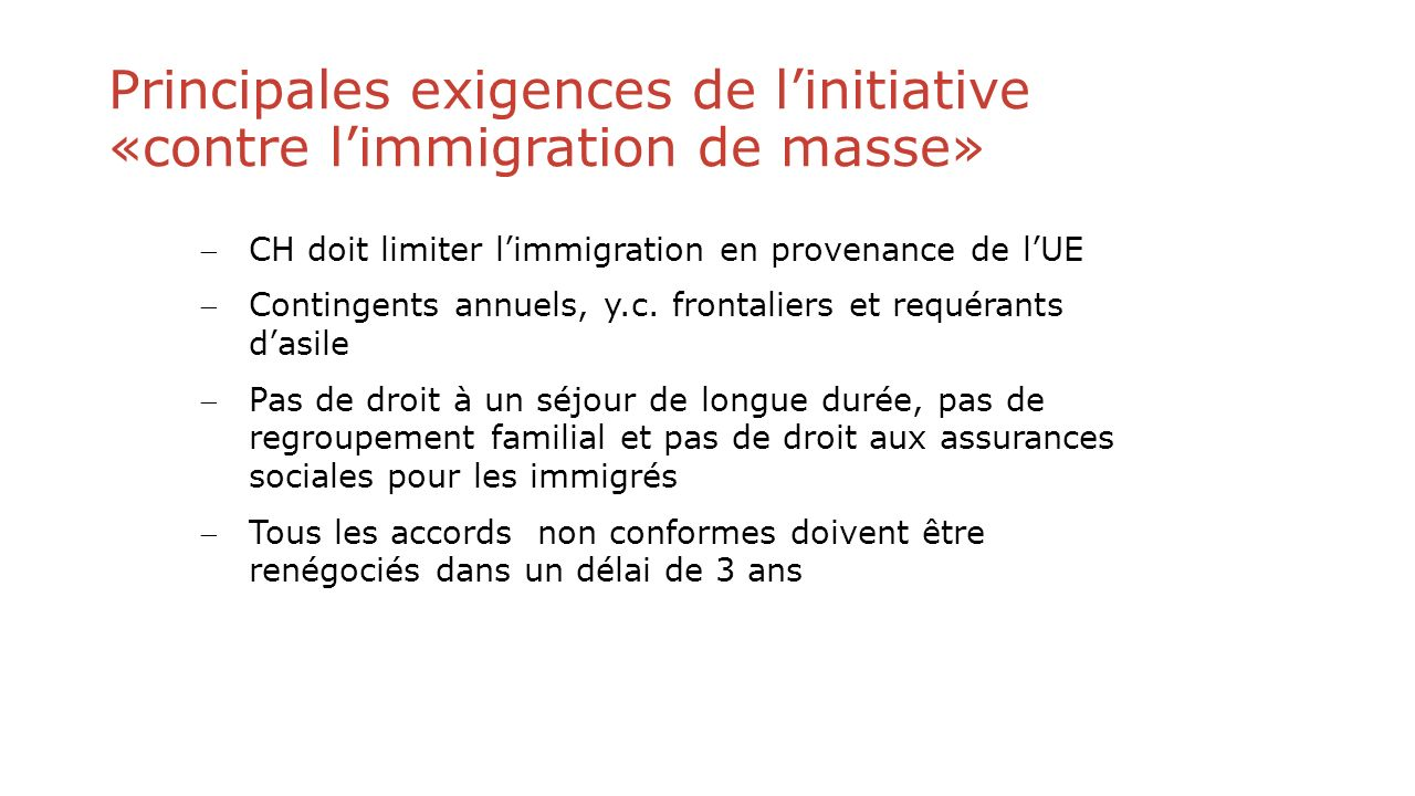 Principales exigences de l'initiative «contre l'immigration de masse»