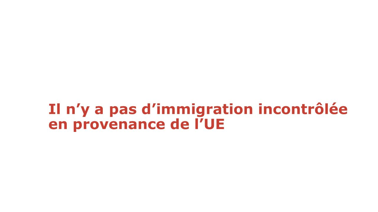 Il n'y a pas d'immigration incontrôlée en provenance de l'UE