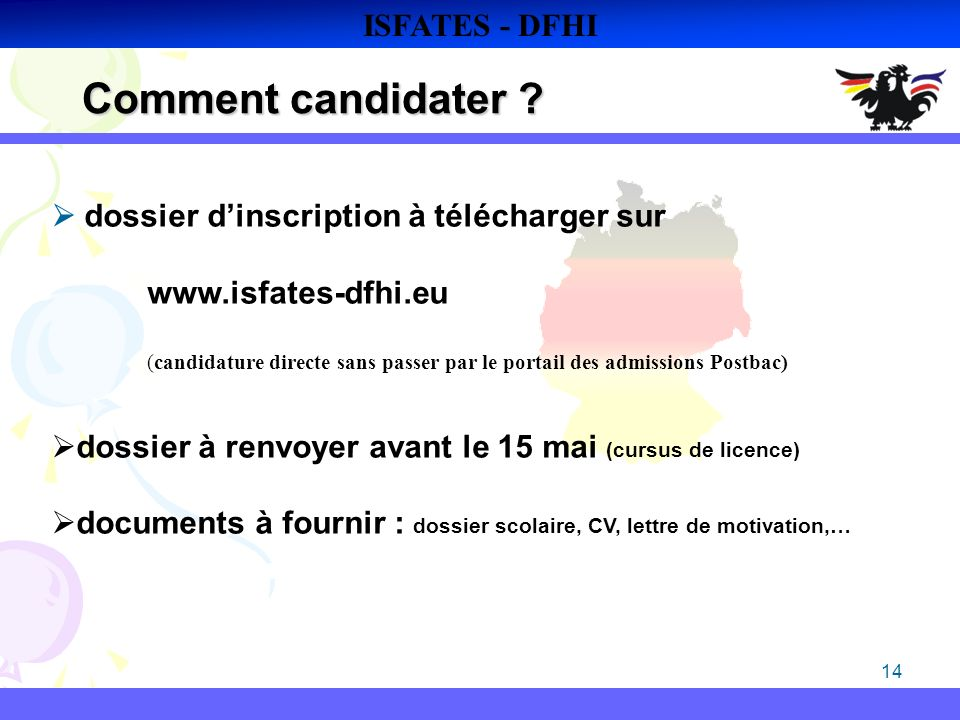 Comment candidater ISFATES - DFHI