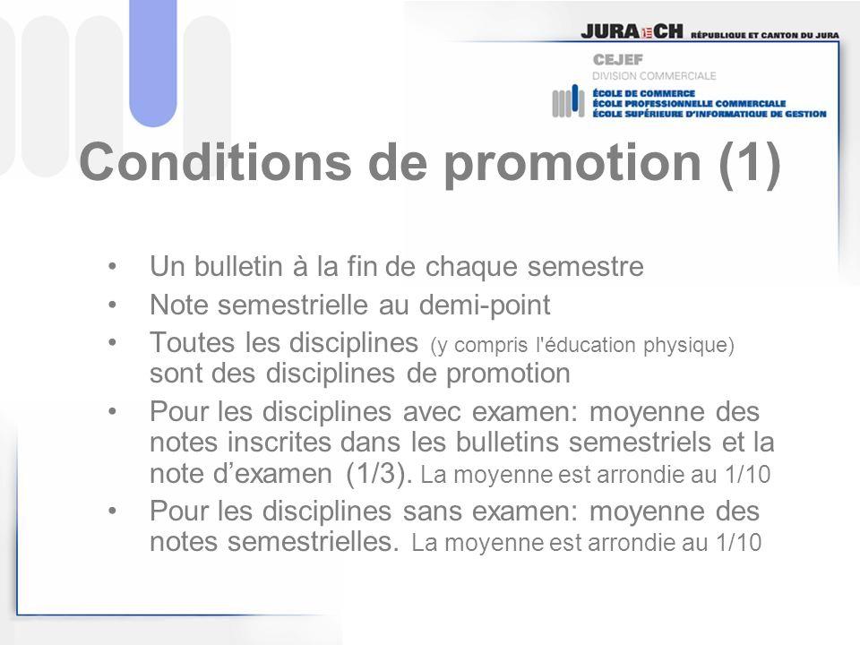 Conditions de promotion (1)