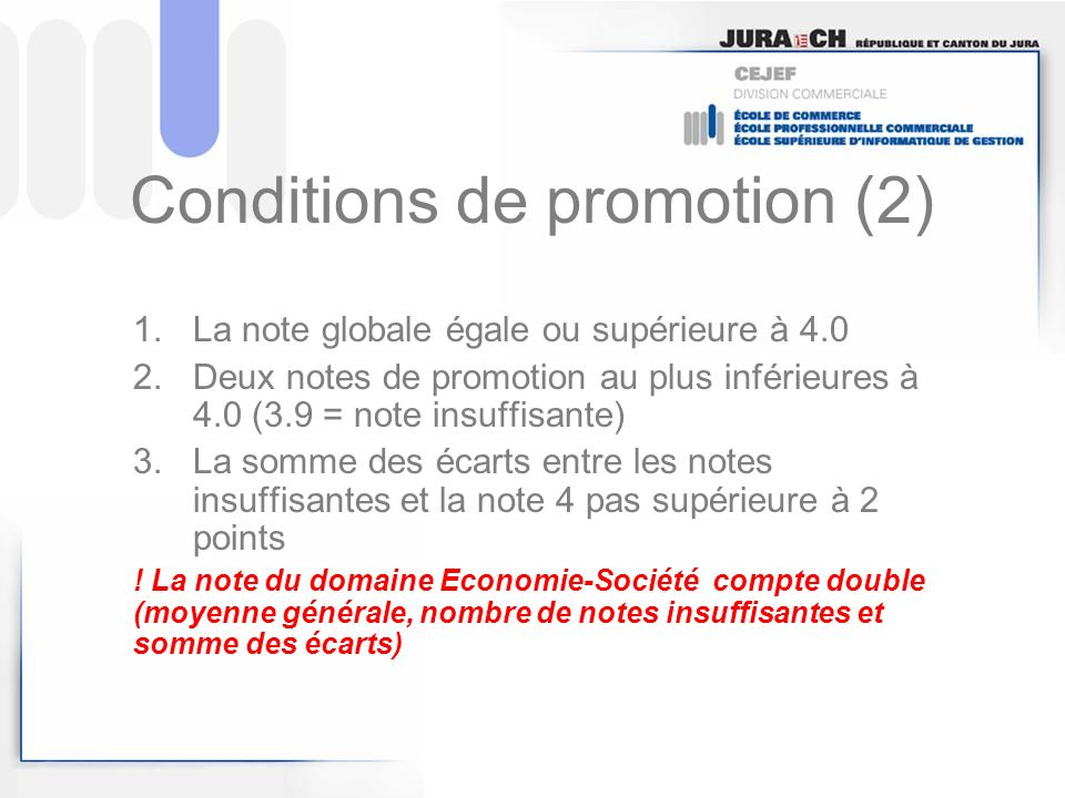 Conditions de promotion (2)