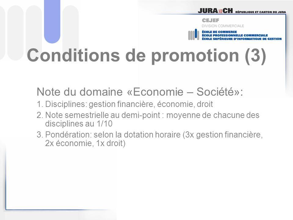 Conditions de promotion (3)