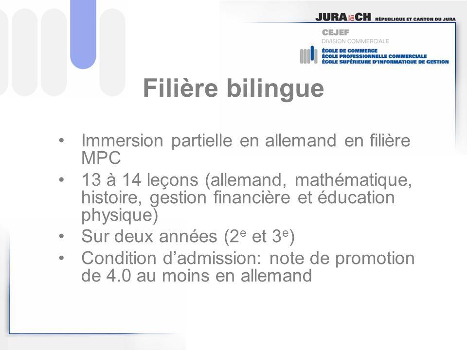Filière bilingue Immersion partielle en allemand en filière MPC