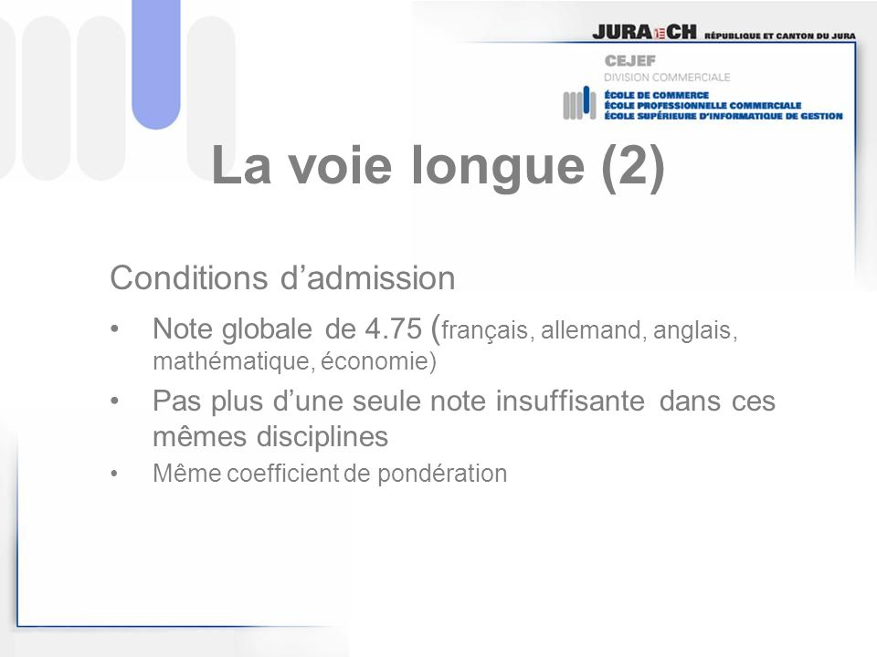 La voie longue (2) Conditions d'admission