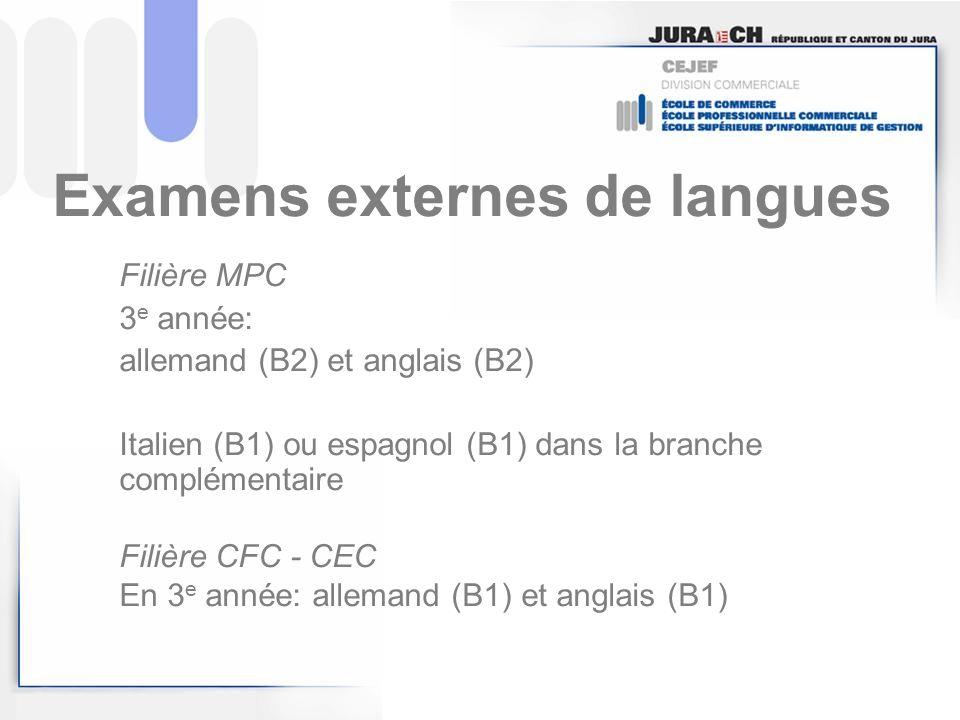 Examens externes de langues
