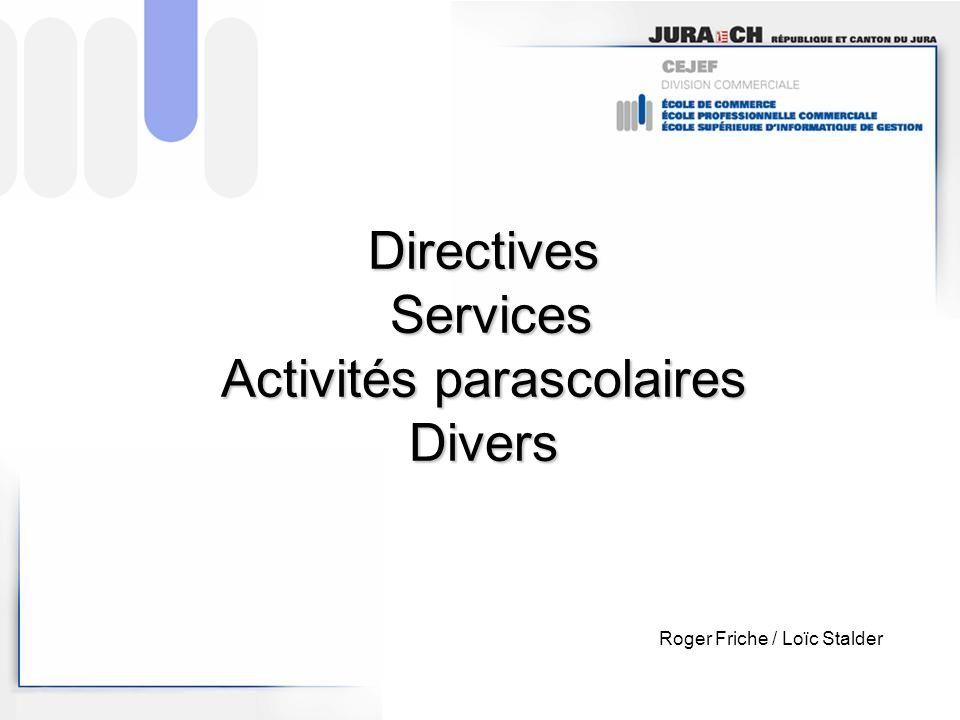 Directives Services Activités parascolaires Divers