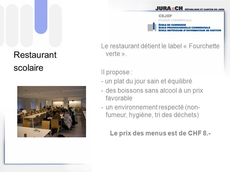 Le prix des menus est de CHF 8.-