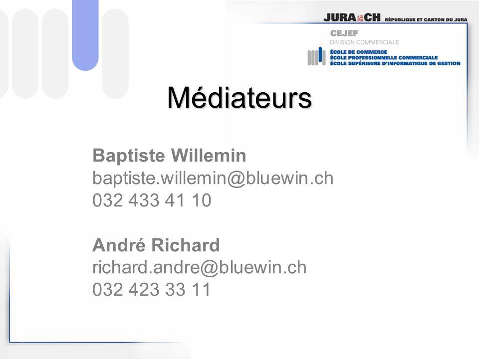 Médiateurs Baptiste Willemin baptiste.willemin@bluewin.ch