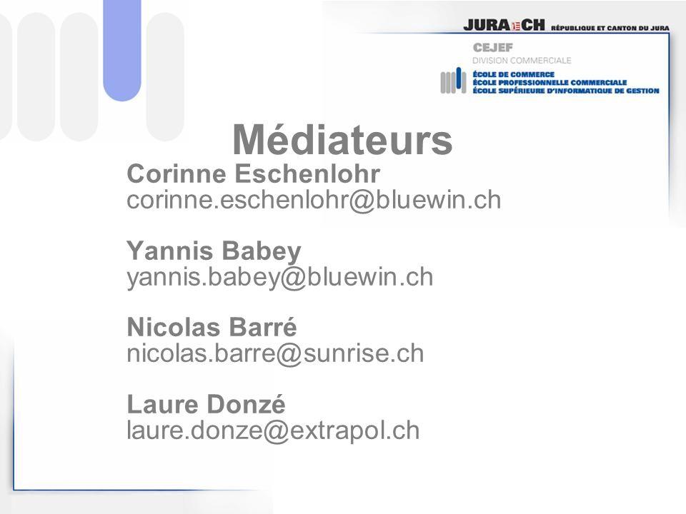 Médiateurs Corinne Eschenlohr corinne.eschenlohr@bluewin.ch