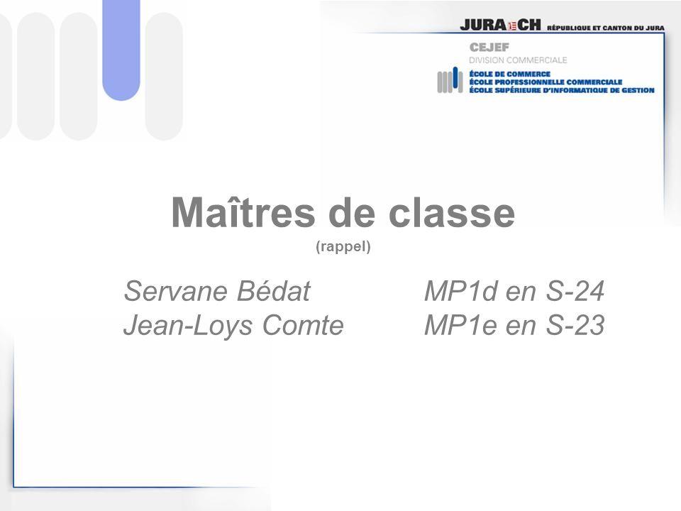 Maîtres de classe (rappel). Servane Bédat. MP1d en S-24