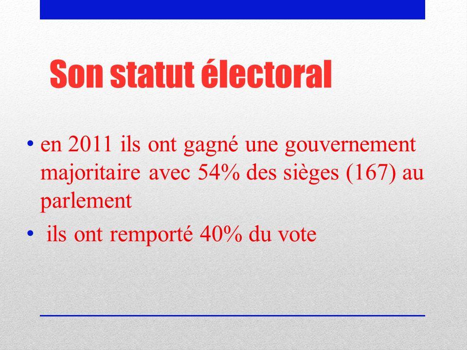 Son statut électoral en 2011 ils ont gagné une gouvernement majoritaire avec 54% des sièges (167) au parlement.