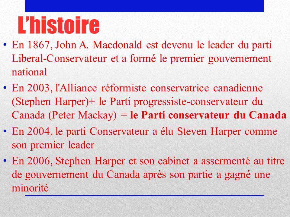 L'histoire En 1867, John A. Macdonald est devenu le leader du parti Liberal-Conservateur et a formé le premier gouvernement national.