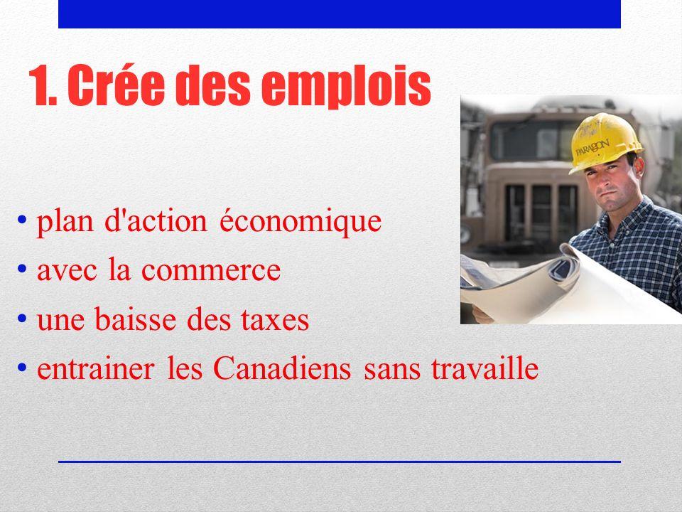 1. Crée des emplois plan d action économique avec la commerce