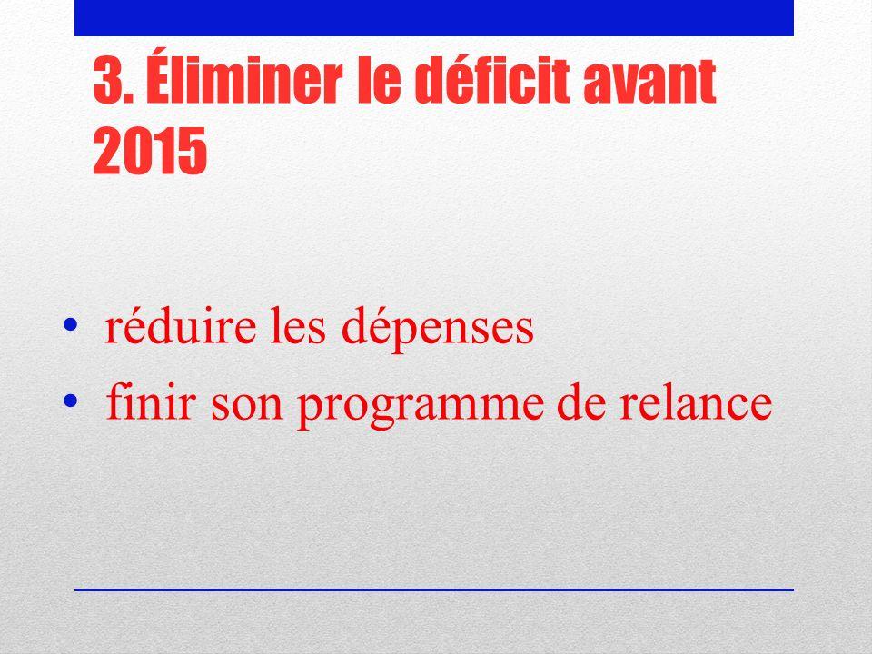 3. Éliminer le déficit avant 2015