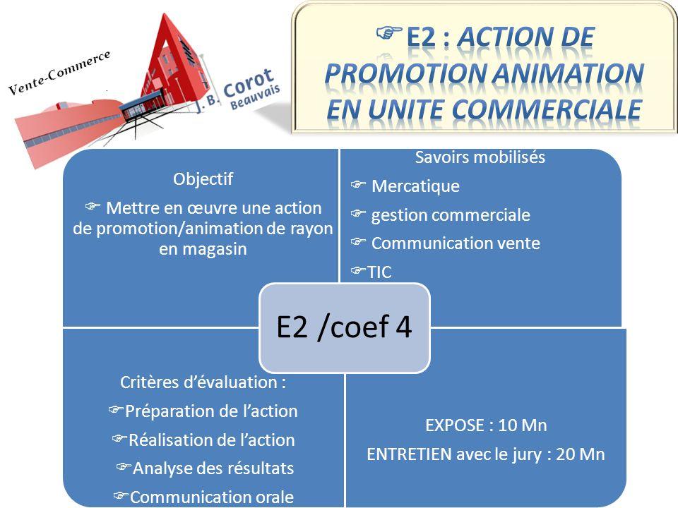 E2 : ACTION DE PROMOTION ANIMATION EN UNITE COMMERCIALE