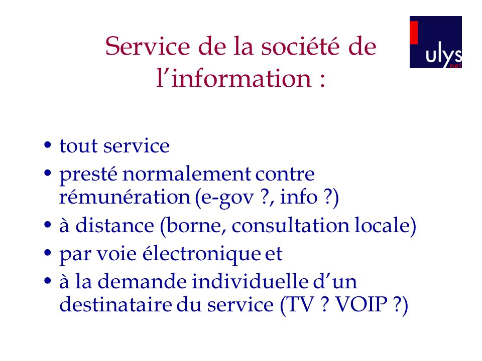 Service de la société de l'information :