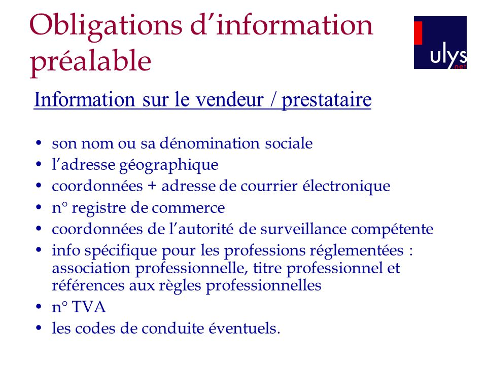 Obligations d'information préalable