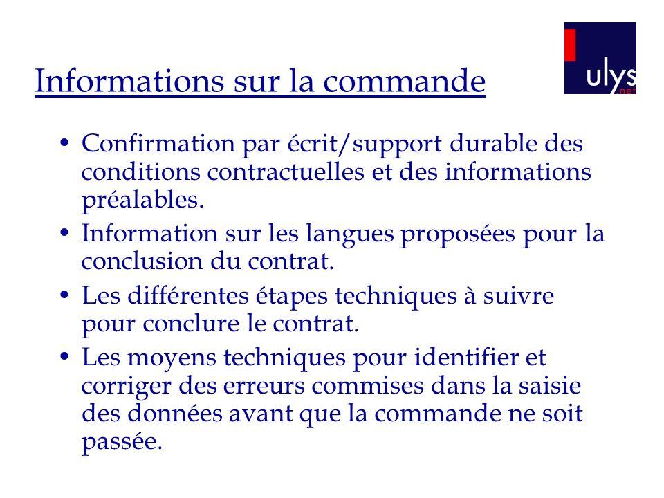 Informations sur la commande
