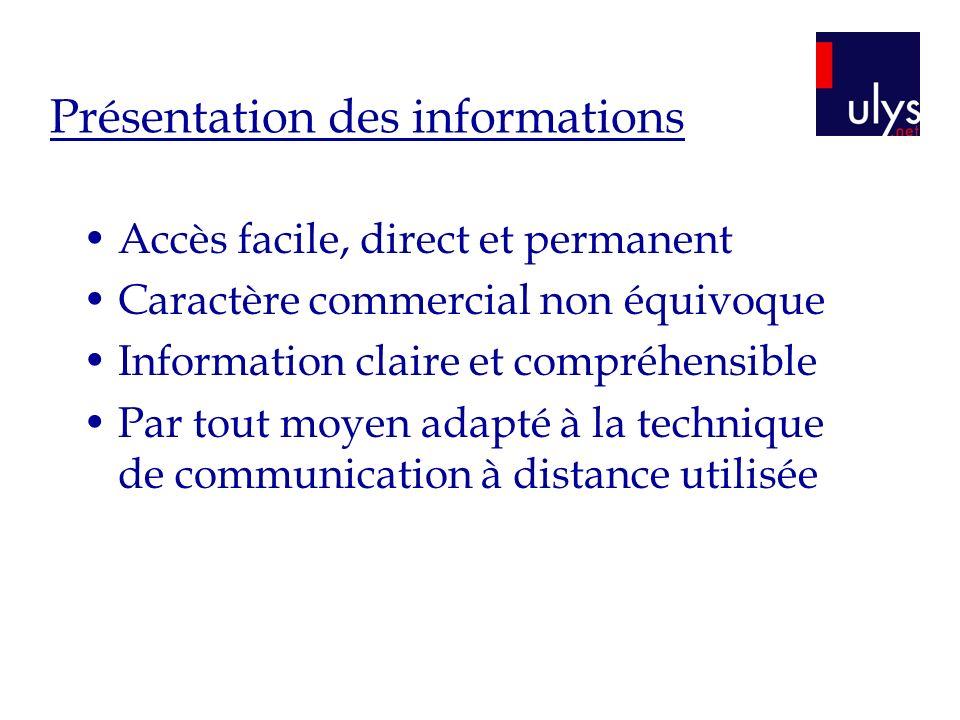 Présentation des informations