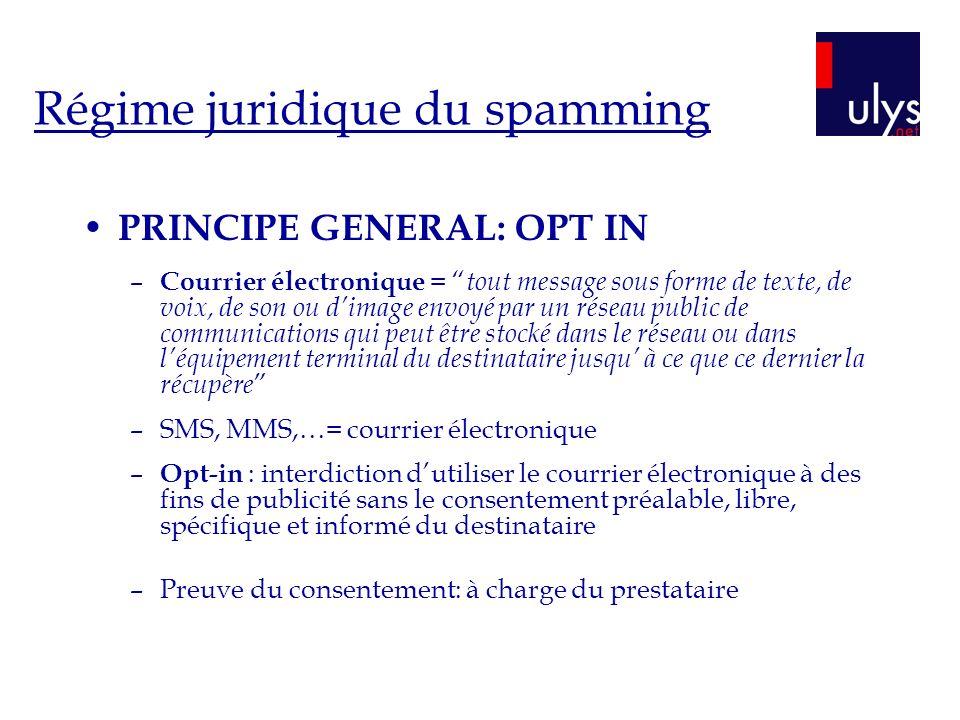 Régime juridique du spamming