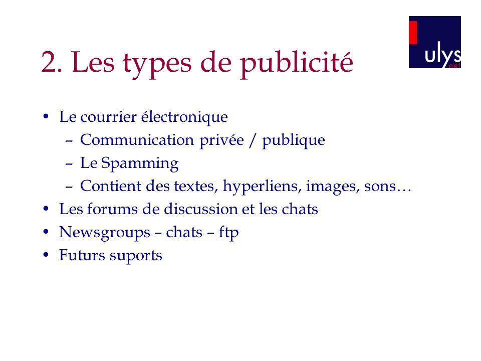 2. Les types de publicité Le courrier électronique