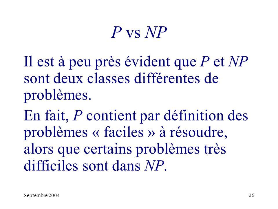 P vs NP Il est à peu près évident que P et NP sont deux classes différentes de problèmes.