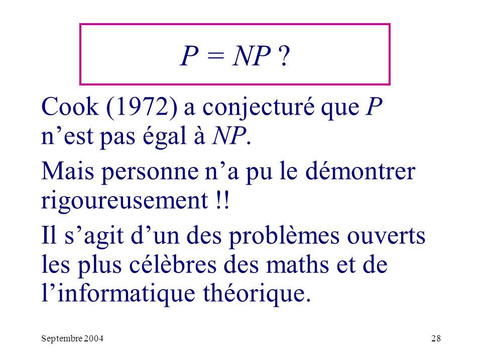 P = NP Cook (1972) a conjecturé que P n'est pas égal à NP.