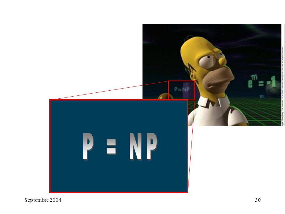 P = NP Septembre 2004