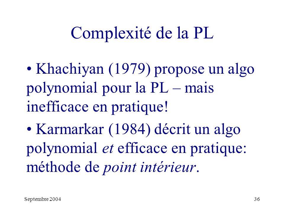 Complexité de la PL Khachiyan (1979) propose un algo polynomial pour la PL – mais inefficace en pratique!